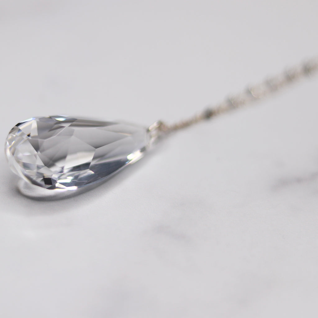 Sterling Silver Clear Teardrop Swarovski Crystal Pendant Necklace  NEW