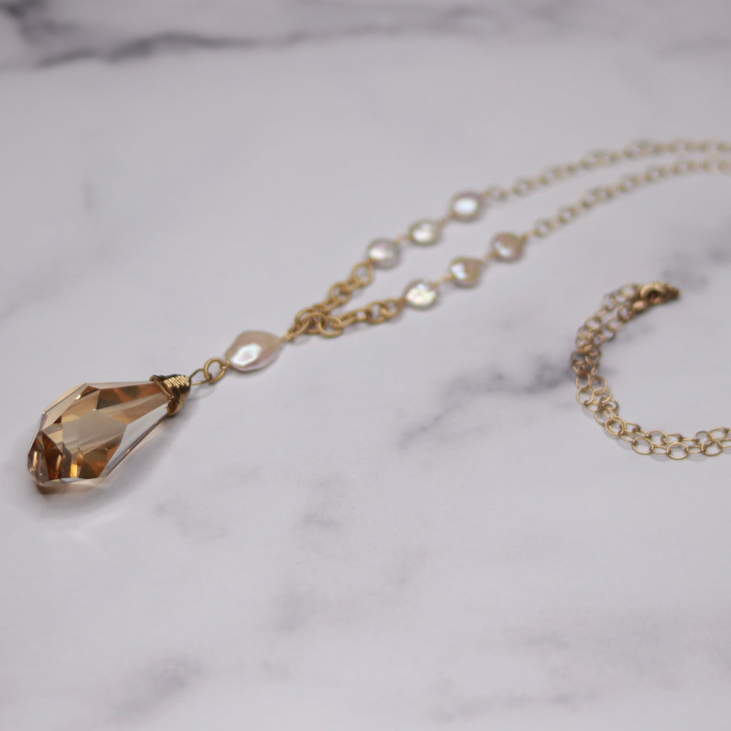 Gold Filled Golden Shadow Chunky Teardrop Swarovski Crystal Pendant & Baroque Pearl Necklace  NEW