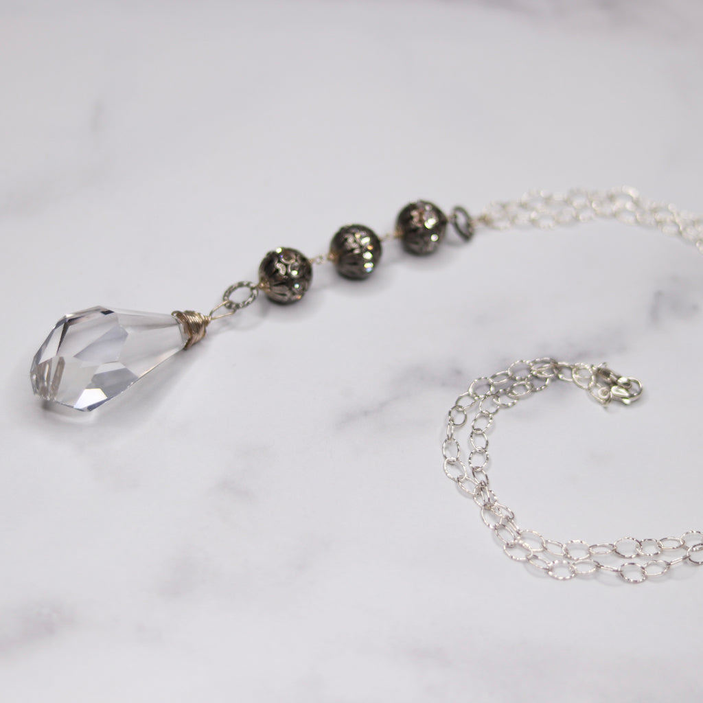 Sterling Silver Chunky Teardrop Swarovski Crystal Pendant & Pewter Crystal Ball Charms Necklace  NEW