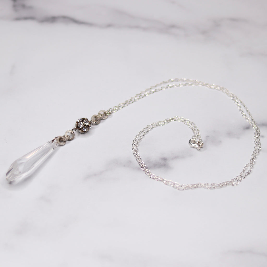 Sterling Silver Frosted Silver Swarovski Icicle with round Pave Crystal Pendant Necklace  NEW