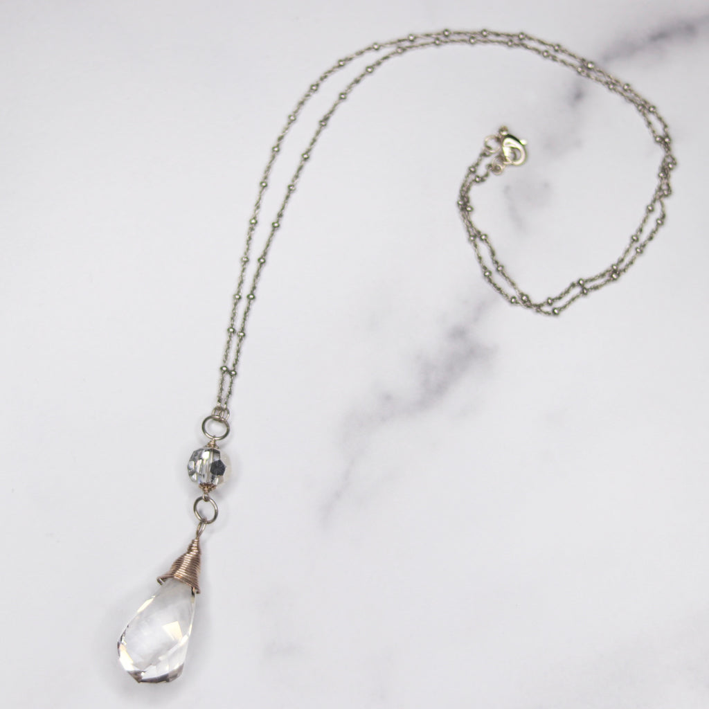 Sterling Silver wrapped Silver Shade Swivel Swarovski and Swarovski Crystal Pendant Necklace  NEW