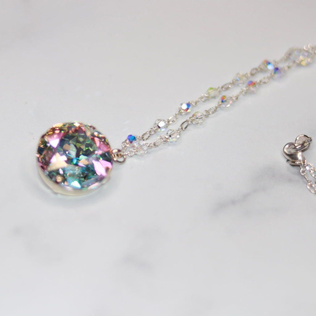 Sterling Silver Large Round AB Swarovski Crystal with round Swarovski crystals Pendant Necklace  NEW