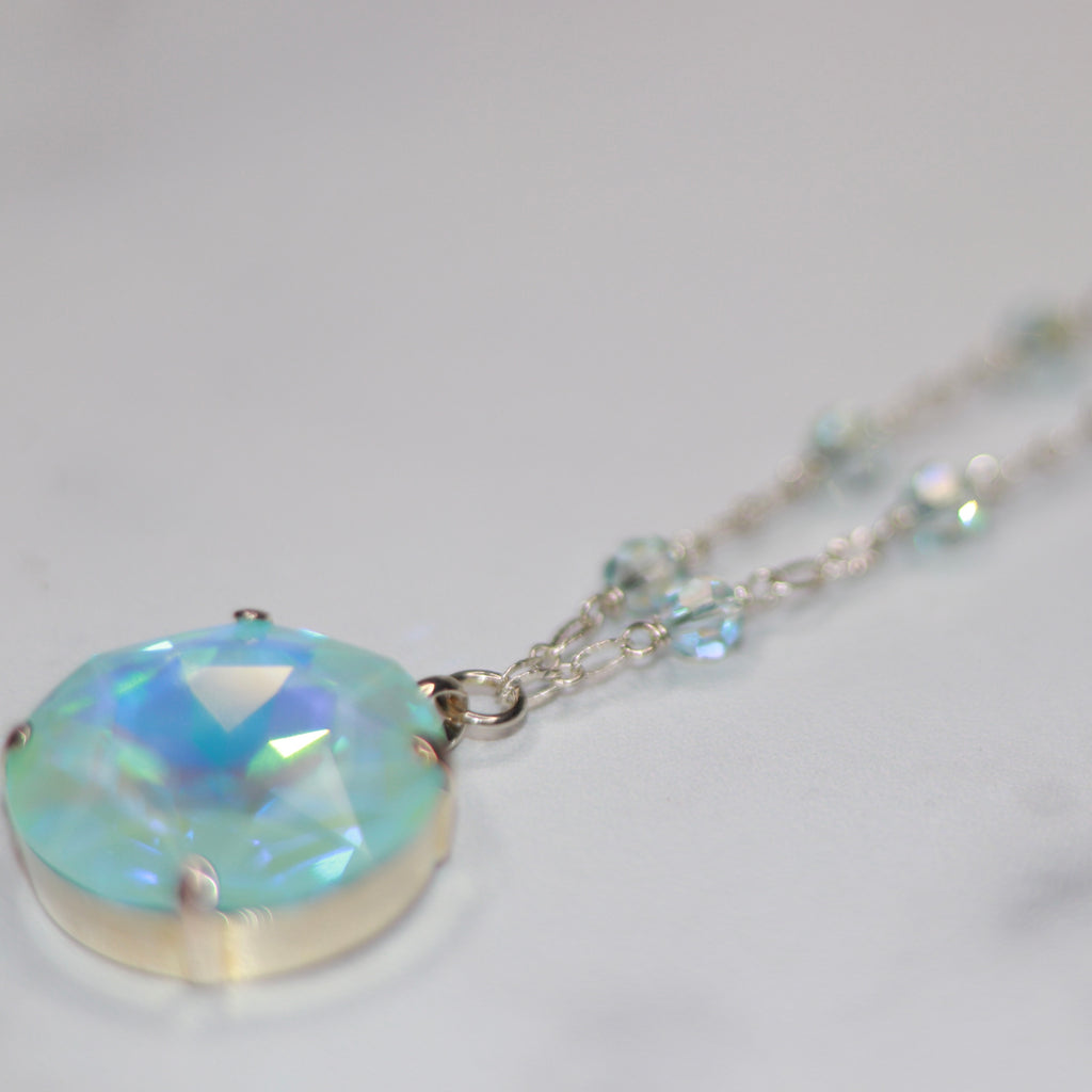 Sterling Silver Large Round Ice Blue AB Swarovski Crystal with round Swarovski crystals Pendant Necklace  NEW