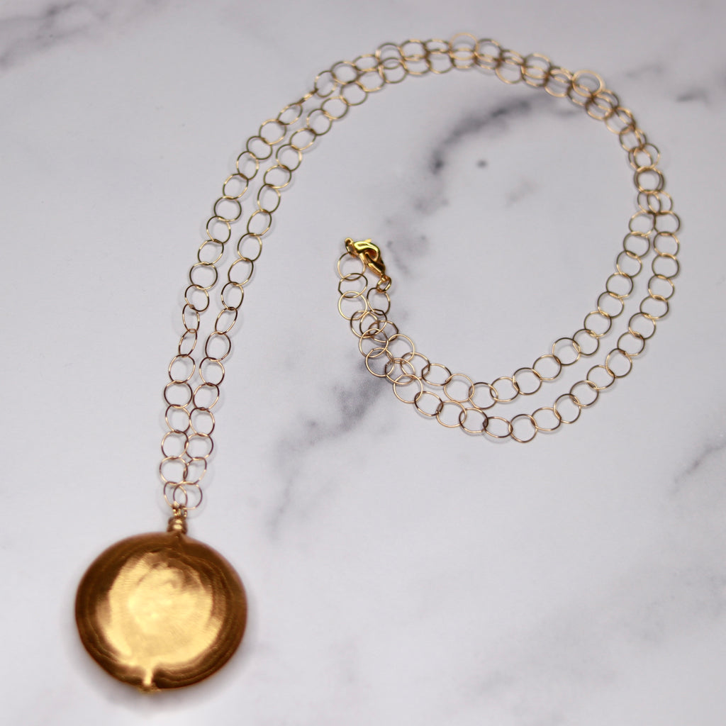 Brushed Gold Vermeil Disc Pendant Necklace On Etched Large Loop Chain  NEW