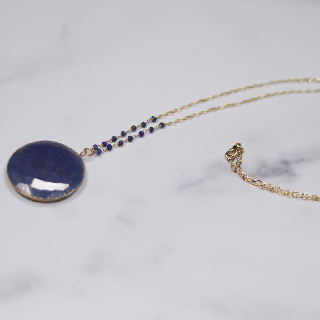 Round Blue Lapis Pendant on Gold Filled Etched Oval Chain Necklace  NEW