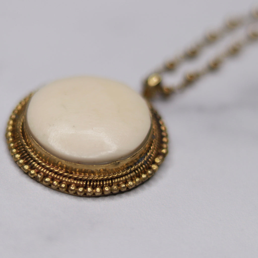 Vintage Round Ivory Bone Pendant on Antiqued Gold Ball Chain Necklace  NEW