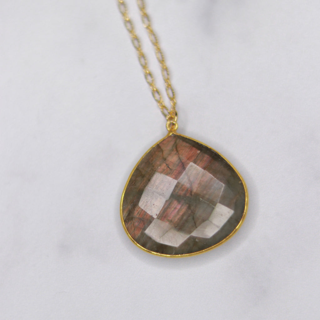 Labradorite Teardrop Pendant on Gold Filled Oval Etched Chain Necklace  NEW