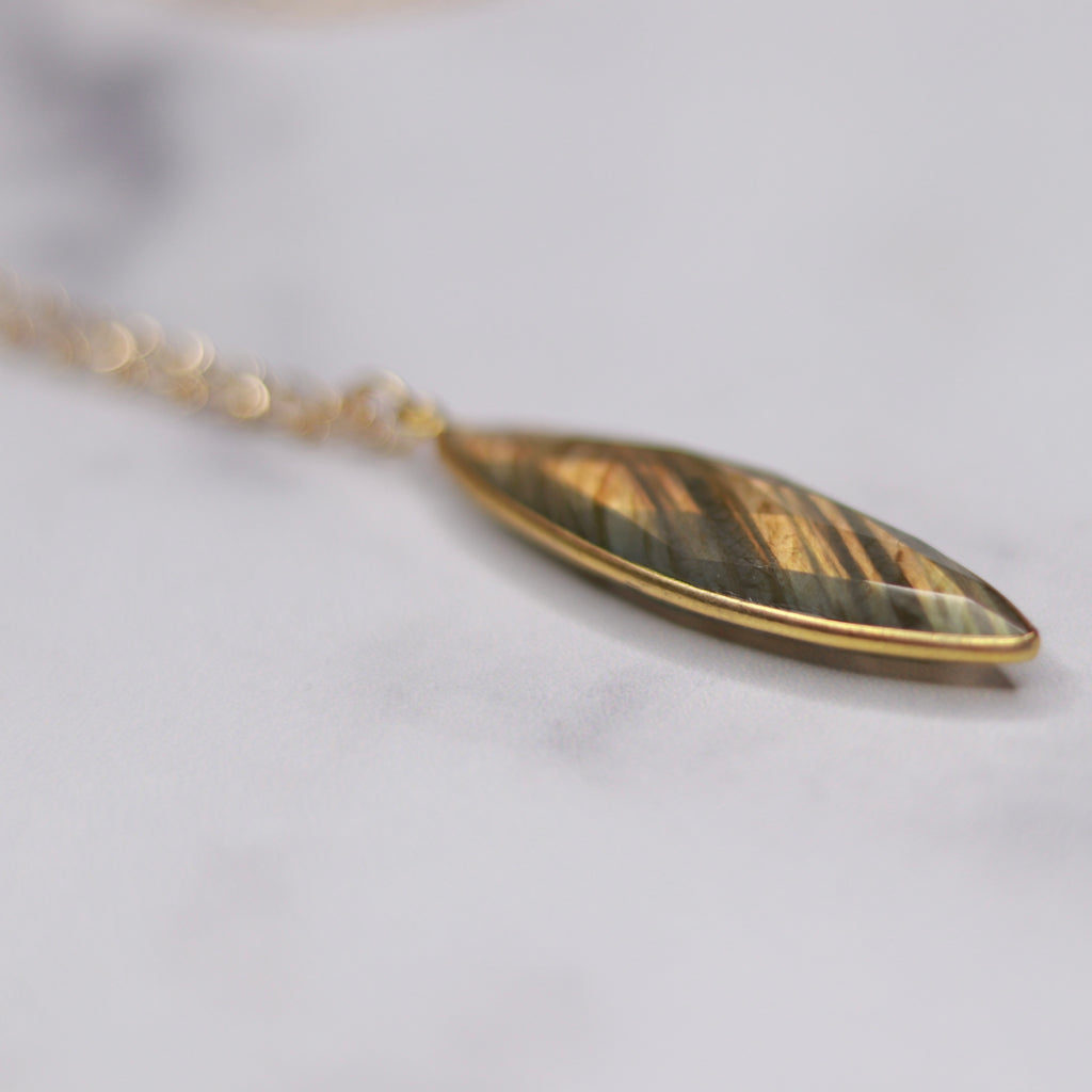 Labradorite Marquis Pendant on Gold Filled Oval Etched Chain Necklace  NEW
