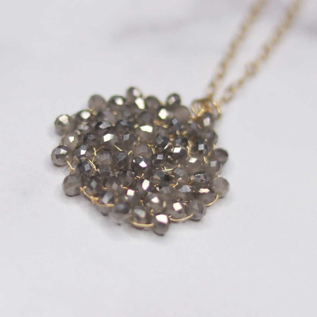 Small Brushed Gold Charcoal Swarovski Crystal Woven Round Pendant Necklace  NEW