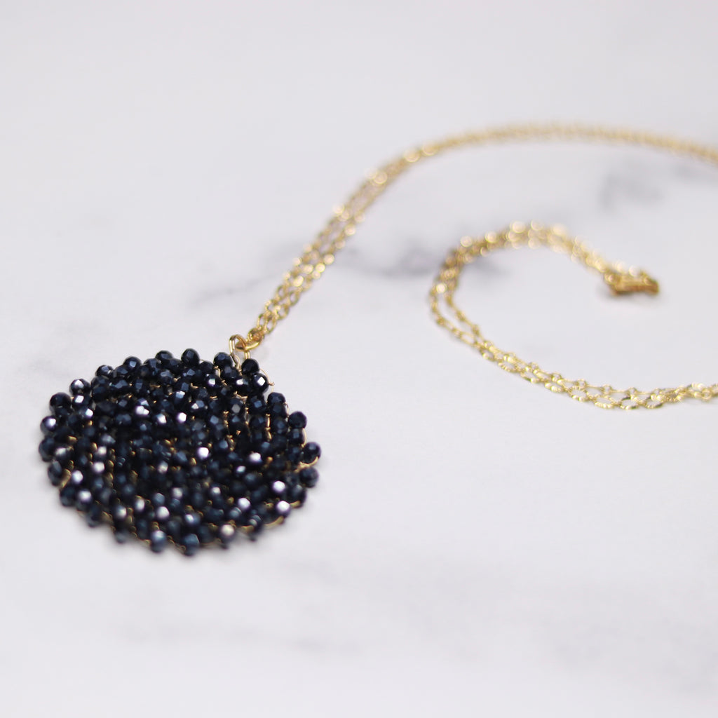 Gold Filled Metallic Black Midnight Swarovski Crystal Woven Round Pendant Necklace  NEW