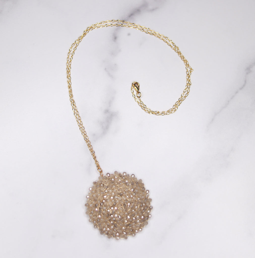 Gold Filled Taupe Swarovski Crystal Woven Round Pendant Necklace  NEW