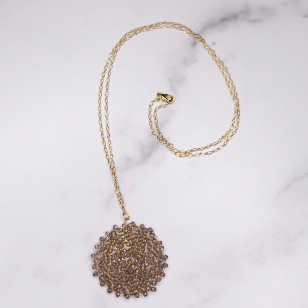 Brushed Gold Charcoal Swarovski Crystal Woven Round Pendant Necklace  NEW