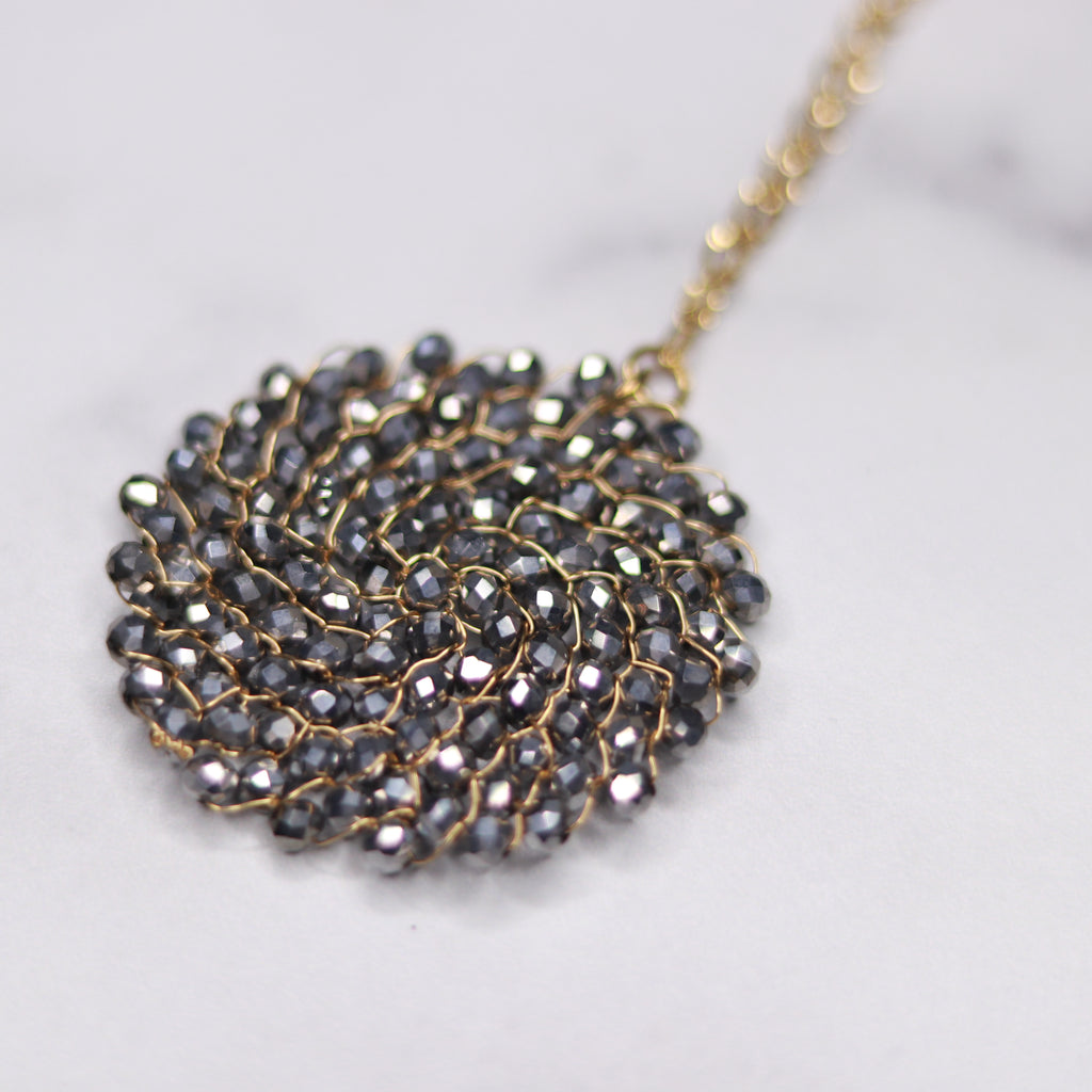 Gold Filled Metallic Pewter Swarovski Crystal Woven Round Pendant Necklace  NEW