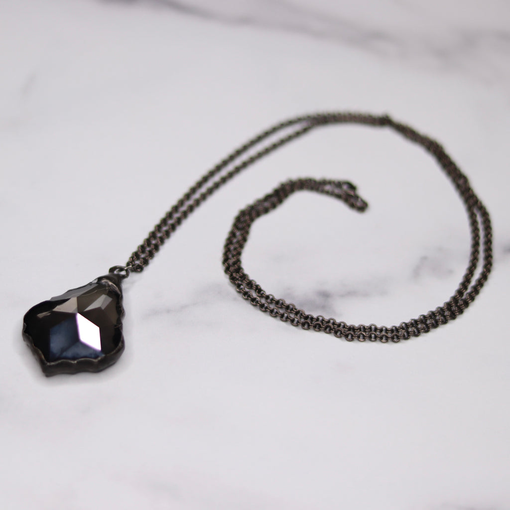 Charcoal Soldered Smoky Gray French Crystal Chandelier Pendant on Gunmetal Chain  NEW