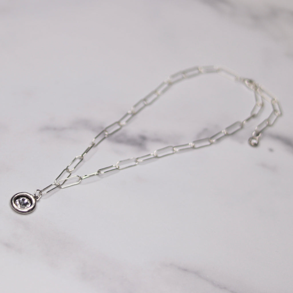 Sterling Silver Paper Clip Chain with Large Encased Swarovski Crystal Round Pendant  NEW