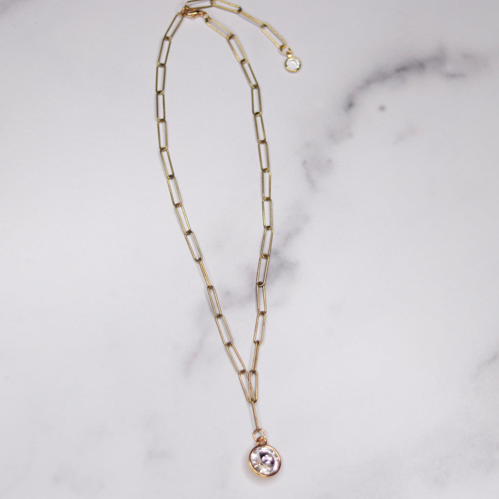 Gold-Filled Paper Clip Chain with Swarovski Crystal Rivoli Pendant  NEW