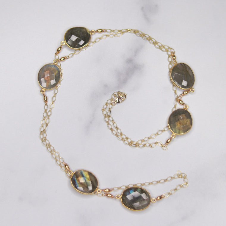 Gold-Filled Labradorite Large Oval Long Layering Necklace  NEW