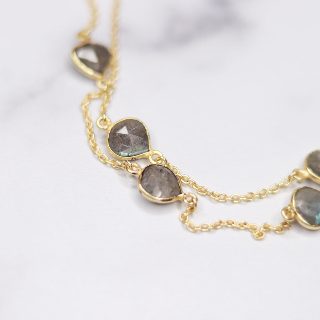 Gold-Filled Labradorite Teardrop Long Layering Necklace  NEW