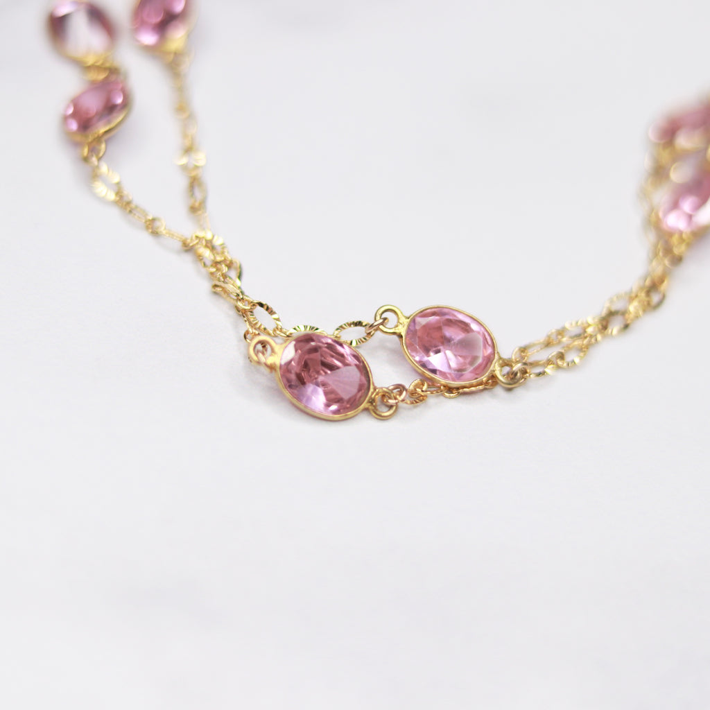Gold-Filled Pink Swarovski Crystal Large Oval Long Layering Necklace  NEW