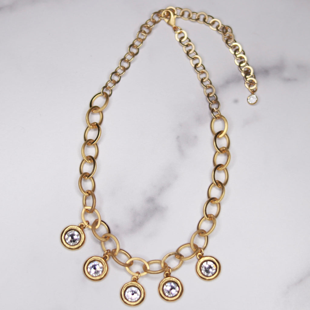 Antique Brass Large Oval Link Chain with Encased Swarovski Crystal Round Drops Choker Necklace  NEW