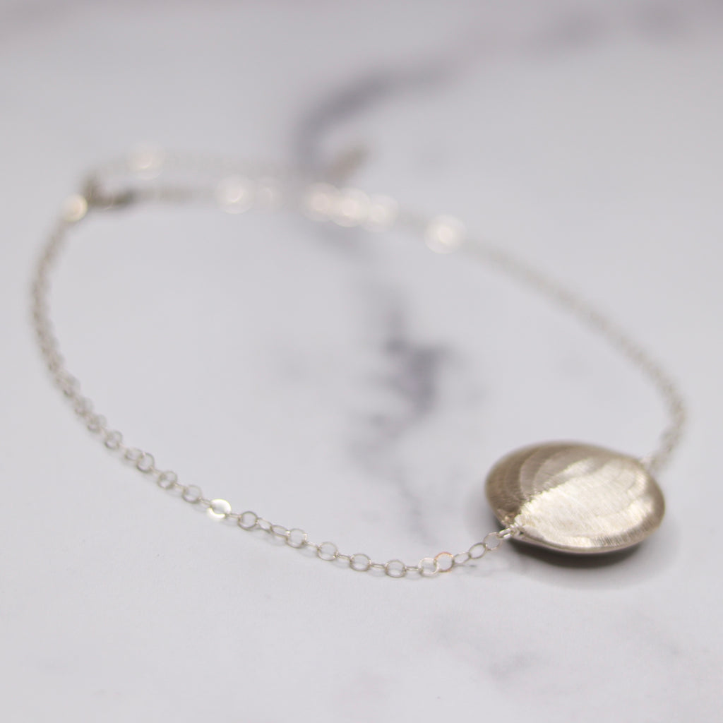 Sterling Silver Large Loop Chain with Brushed Thai Silver Disc Choker Necklace  NEW