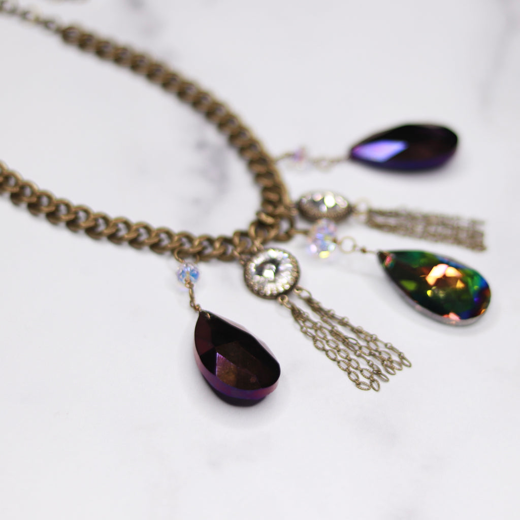Antique Brass Chunky Curb Chain with Bright Plum and Vitrail Crystal Teardrop Choker Necklace  NEW