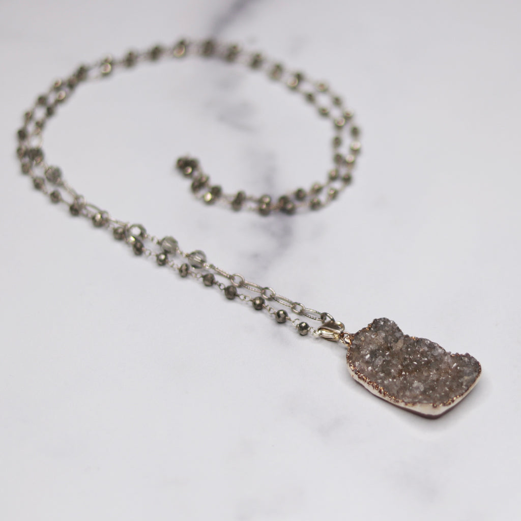 Green/Gray Rectangle Druzy Pendant with Pyrite Wrapped Brushed Sterling Silver Chain Necklace  NEW