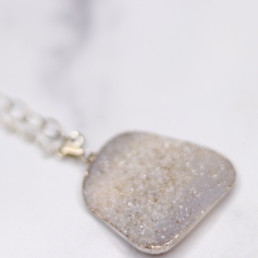 Cream and Light Gray Rectangle Druzy Pendant with Moonstone Wrapped Sterling Silver Chain Necklace  NEW