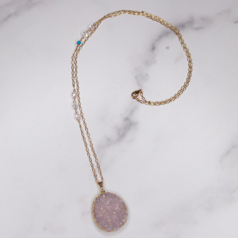 Lavendar/Soft Pink Oval Druzy Pendant with Swarovski Crystal Gold-Filled Chain Necklace  NEW