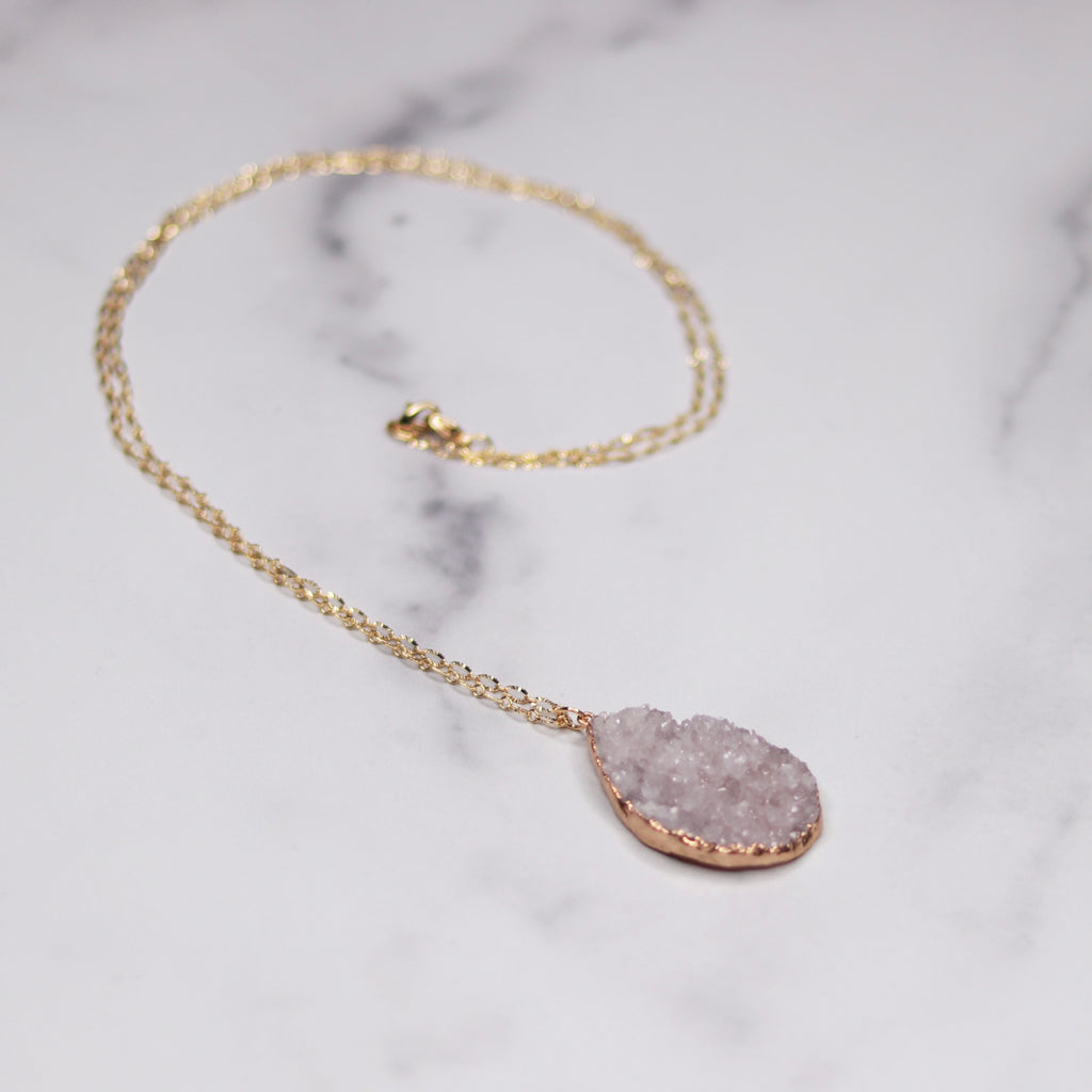 Light Lavendar Teardrop Druzy Pendant on Gold-Filled Chain Necklace  NEW