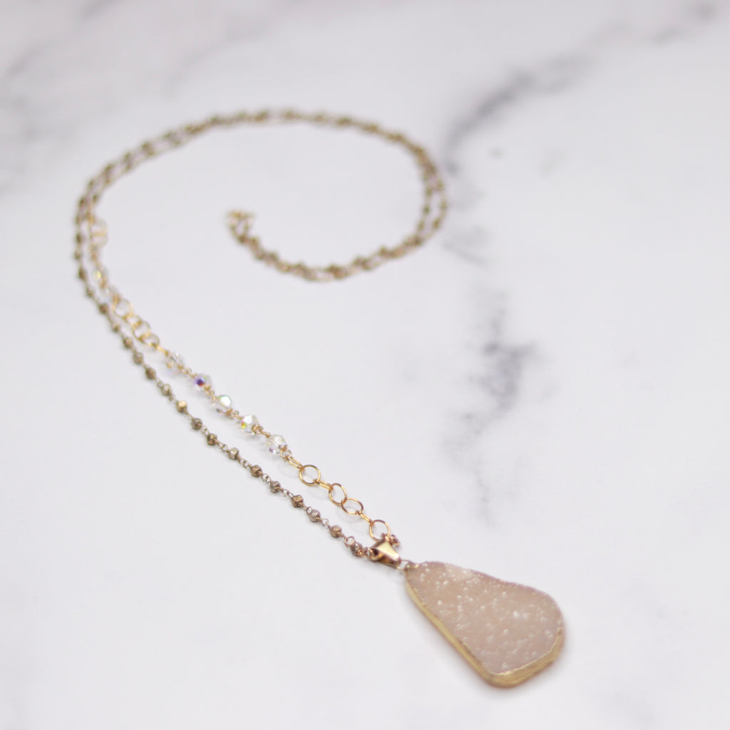 Cream Teardrop Druzy Pendant with Swarovski Crystal and Gold and Silver Beaded Chain Necklace  NEW
