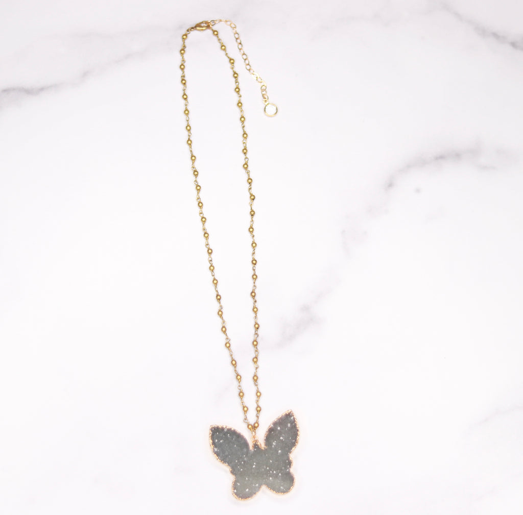Green/Gray Ombre Butterfly Druzy Pendant on Gold Beaded Chain Necklace  NEW