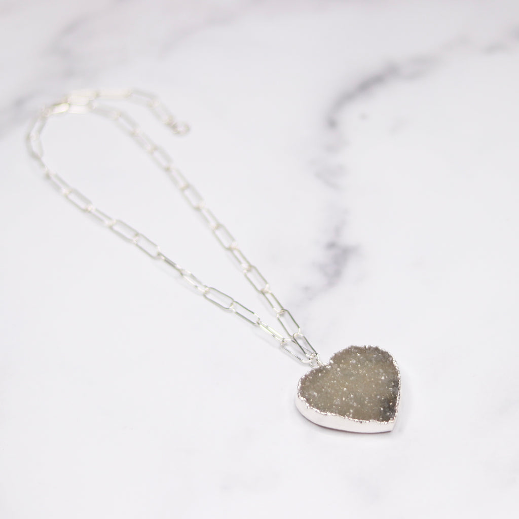 Gray/Green Ombre Heart Druzy Pendant on Sterling Silver PaperClip Chain Necklace  NEW