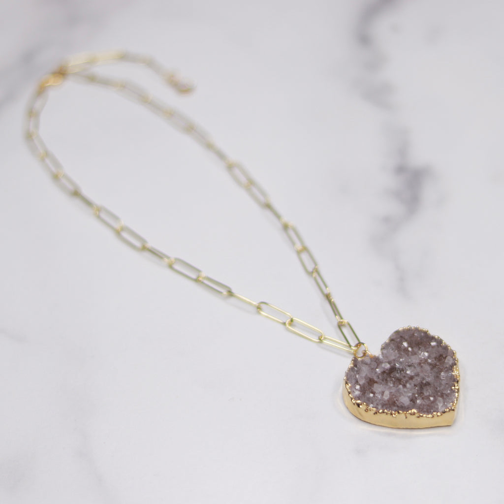 Medium Gray/Lavendar Heart Druzy Pendant on Gold-Filled PaperClip Chain Necklace  NEW