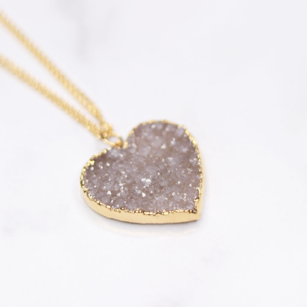 Medium Gray/Lavendar Heart Druzy Pendant on Gold-Filled Long Chain Necklace  NEW