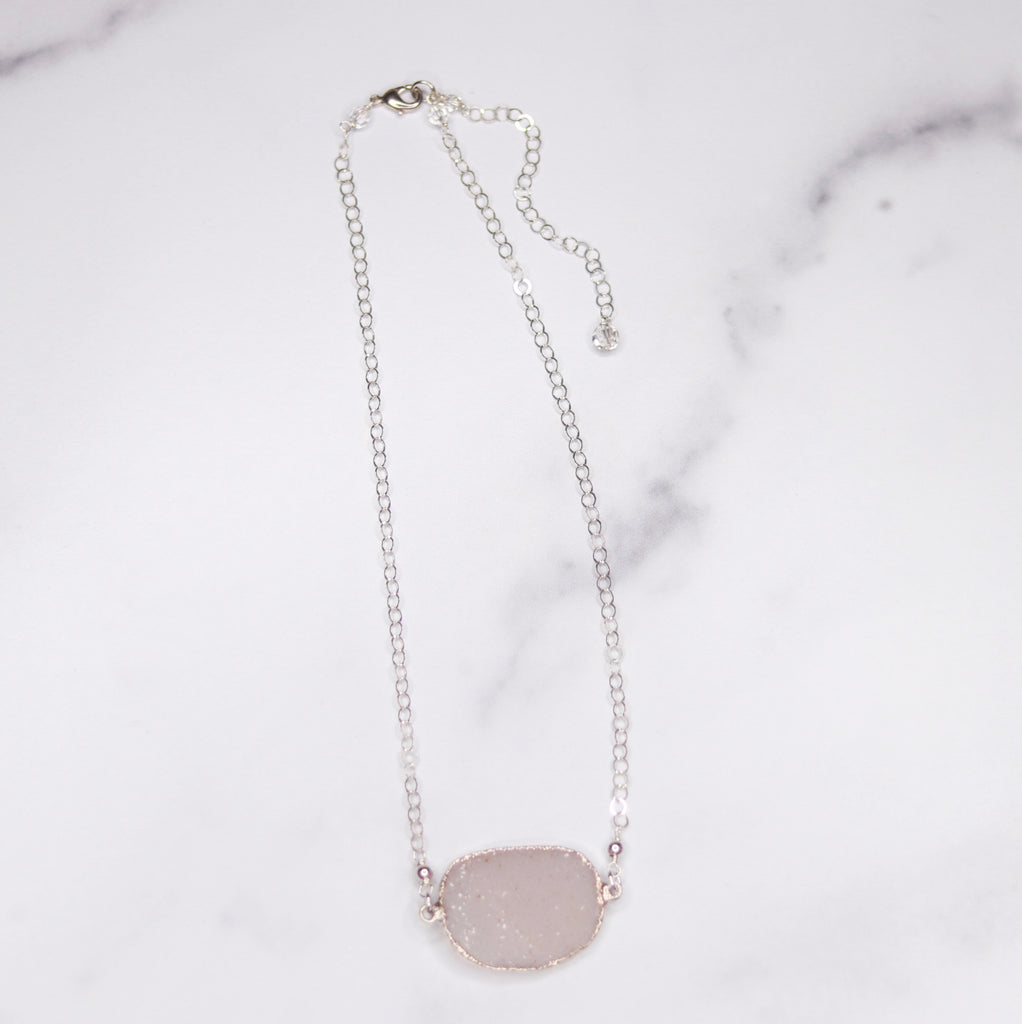 White Oval Druzy Choker Pendant on Sterling Silver Chain Necklace  NEW
