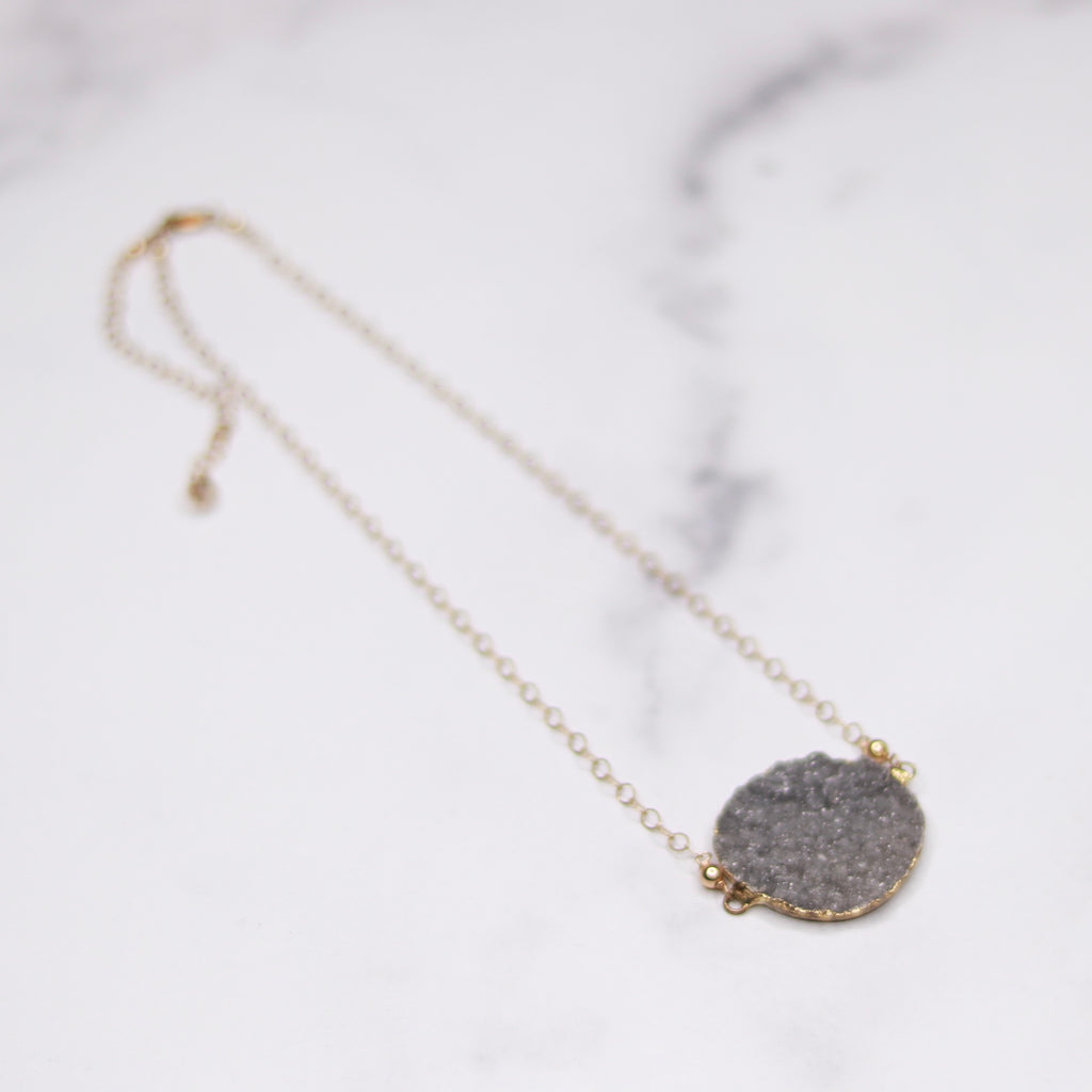 Medium Gray Round Druzy Choker Pendant on Gold-Filled Chain Necklace  NEW