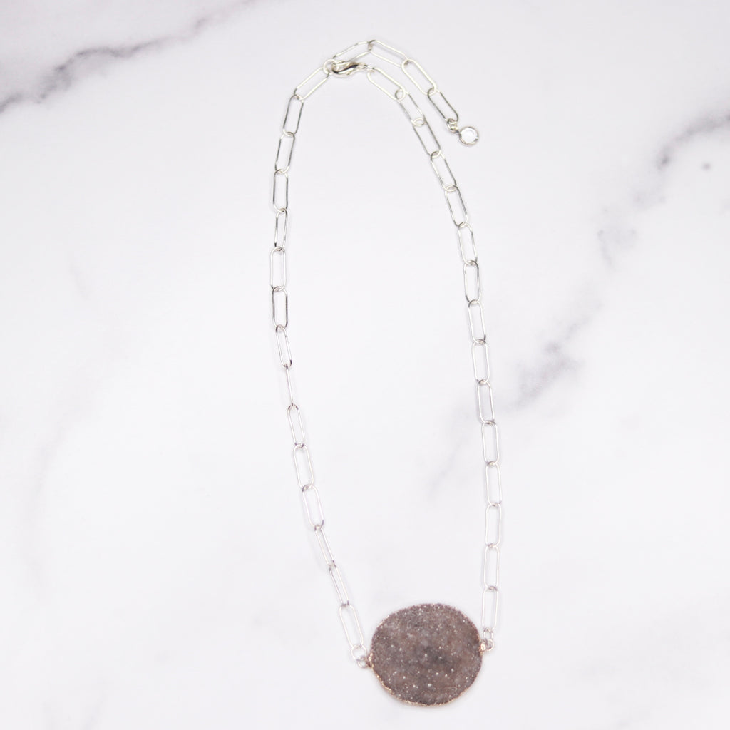 Medium Gray Round Druzy Choker Pendant on Sterling Silver PaperClip Chain Necklace  NEW