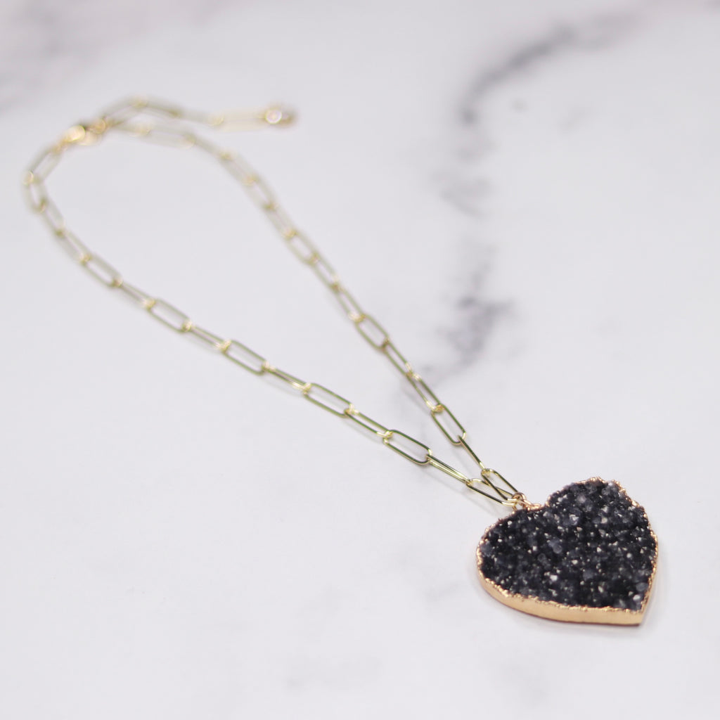 Dark Charcoal Heart Druzy Pendant on Gold-Filled PaperClip Chain Necklace  NEW