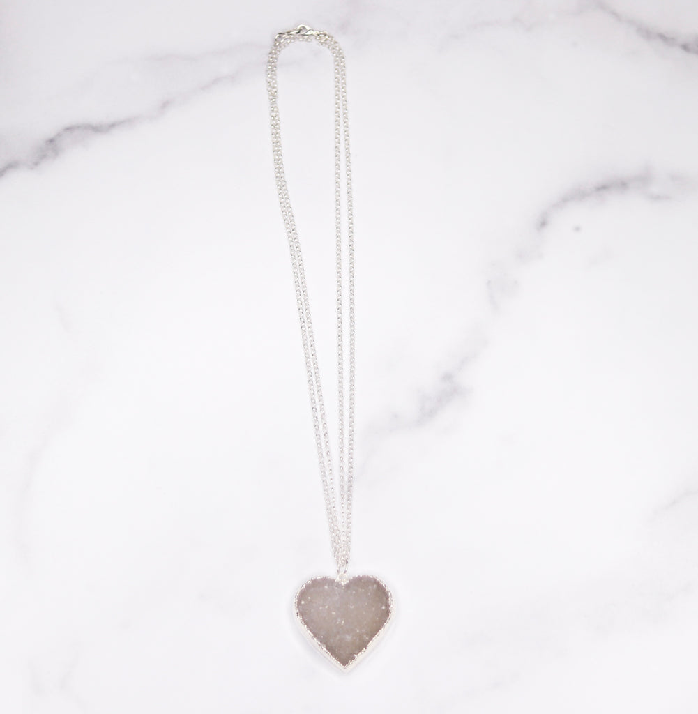 Light Gray/White Heart Druzy Pendant on Sterling Silver Long Chain Necklace  NEW