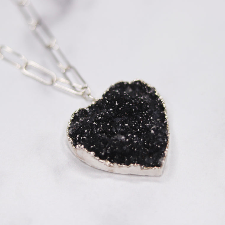 Black Heart Druzy Pendant on Sterling Silver PaperClip Chain Necklace  NEW
