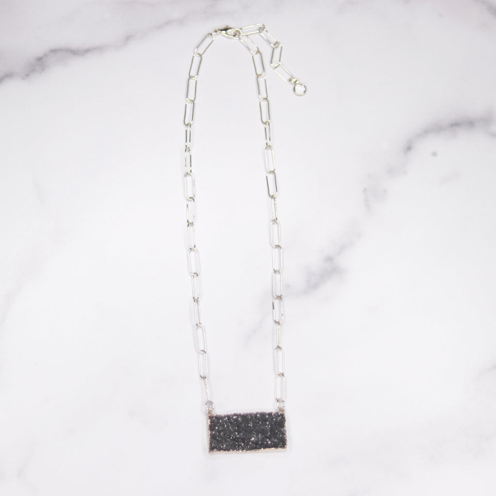 Dark Charcoal Druzy Bar Pendant on Sterling Silver PaperClip Chain Necklace  NEW