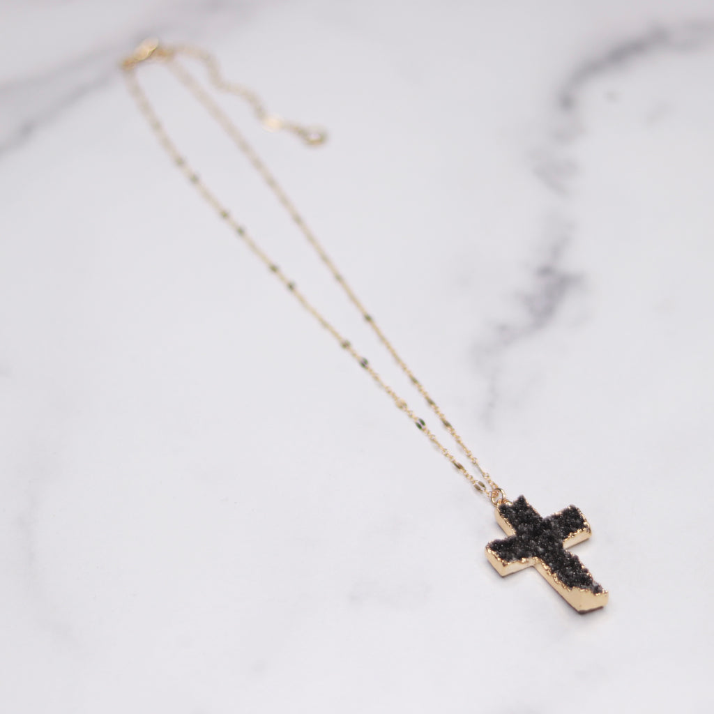 Dark Charcoal Cross Druzy Pendant on Gold-Filled Chain Necklace  NEW