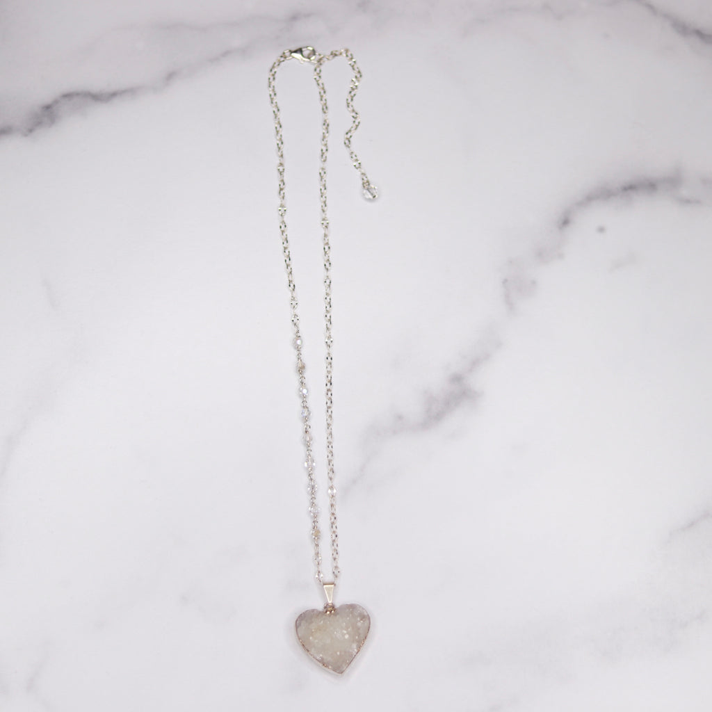 White Heart Druzy Pendant on Sterling Silver with Swarovski Crystal Chain Necklace  NEW