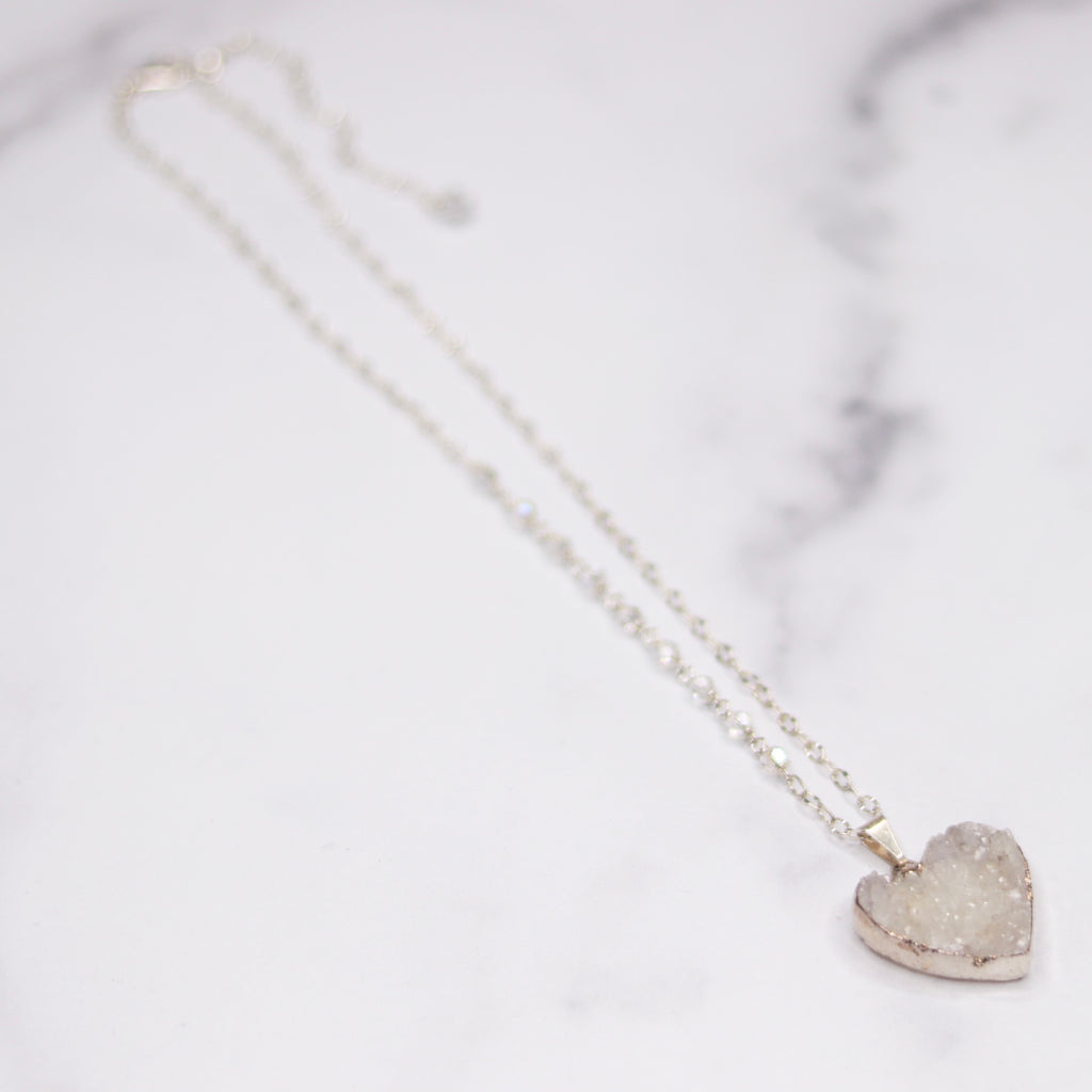 White Heart Druzy Pendant on Sterling Silver with Swarovski Crystal Chain Necklace (medium) NEW