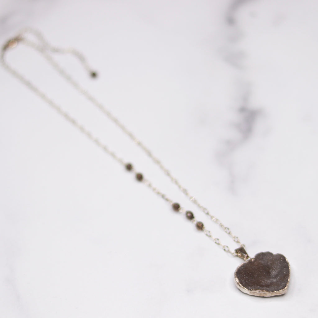 Gray Heart Druzy Pendant on Sterling Silver with Swarovski Crystal Chain Necklace  NEW