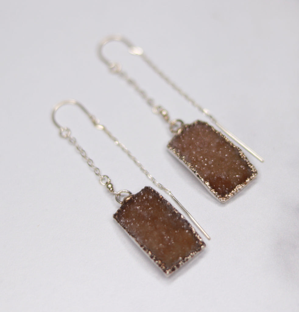 Light Brown Rectangle Druzy Pendants in Sterling Silver Threader Earrings  NEW