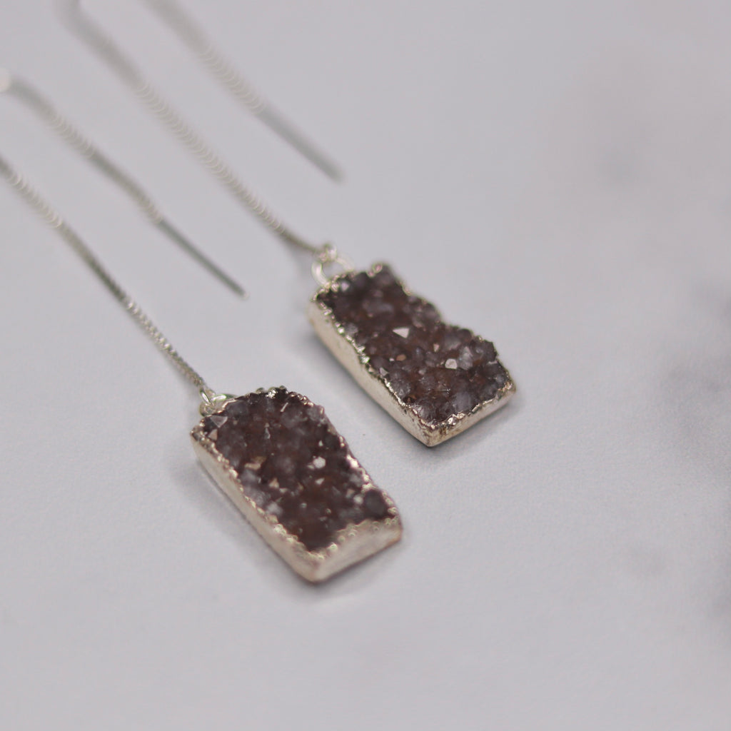 Taupe Rectangle Druzy Pendants in Sterling Silver Threader Earrings  NEW