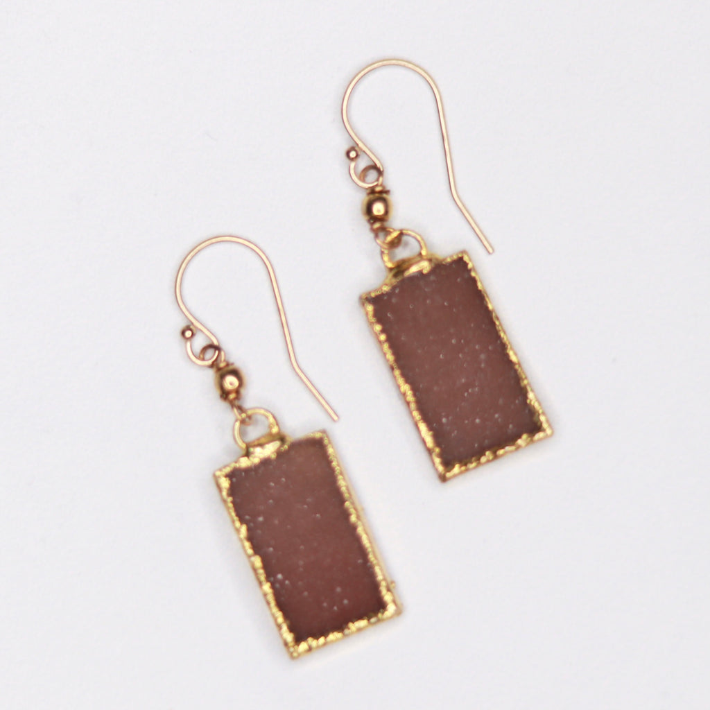 Light Brown/Carmel Rectangle Druzy Pendants in Gold-Filled Fishhook Earrings  NEW