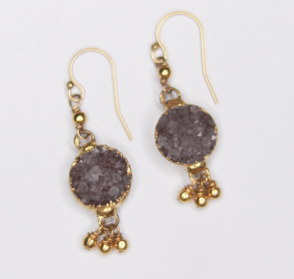 Charcoal Small Round Druzy Pendant with Gold-Filled Drops Fishhook Earrings  NEW